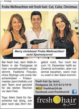 freshhair Weihnachtsanzeige